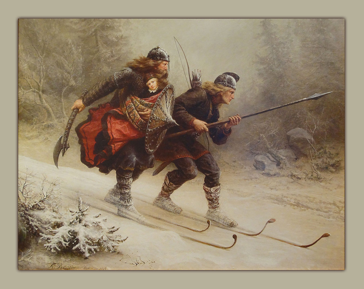 Painting of Birkebeiner skiers carrying Prince Haakon of Norway to safety