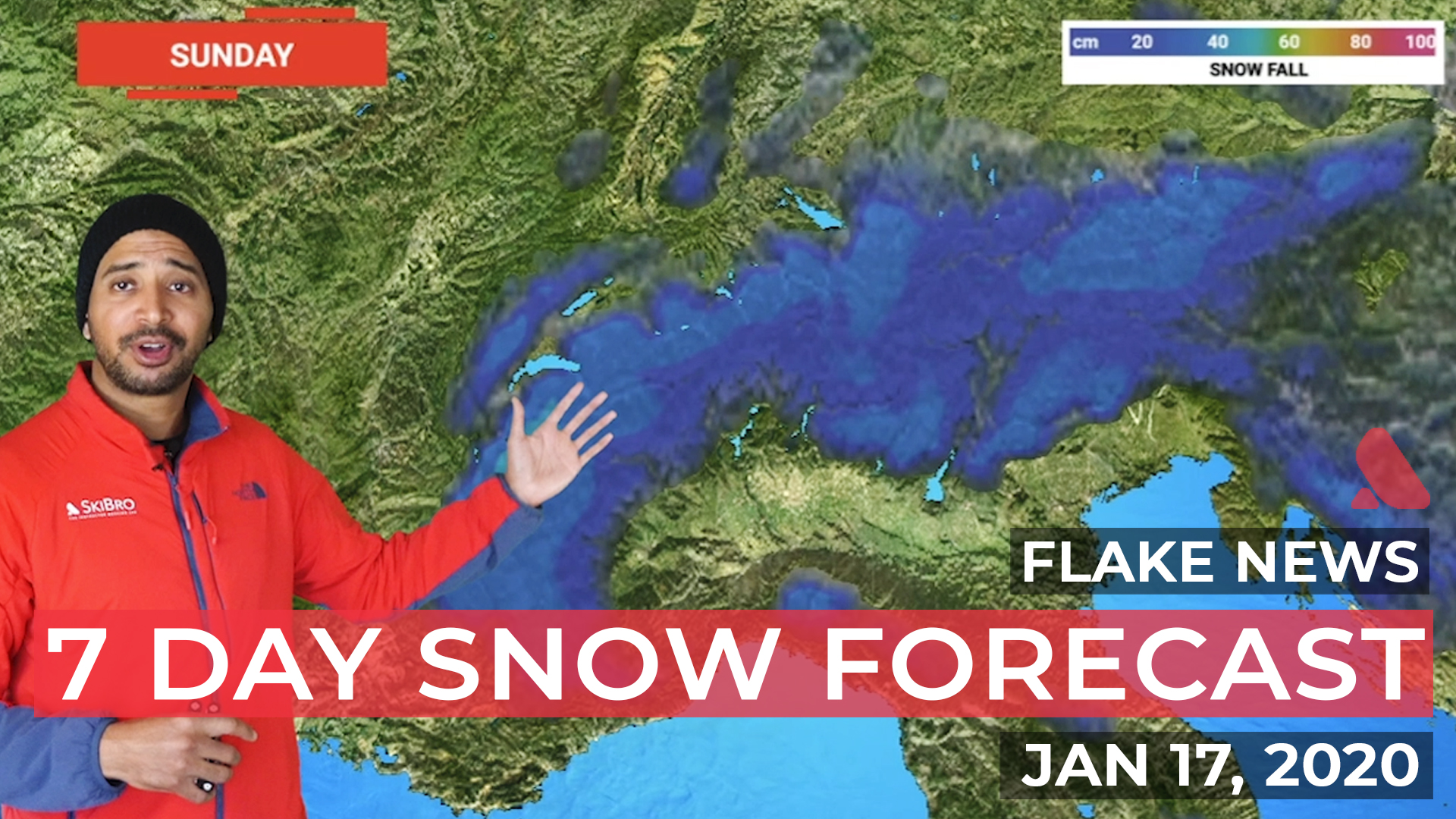 View of the Alps with the forecast accumulated snowfall